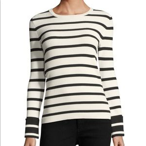 THEORY STRIPED CREW-NECK LONG-SLEEVE TOP